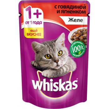 Whiskas корм пауч для взрослых кошек, желе говядины с ягненком, 85гр (04118)