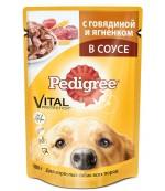 Pedigree консервированный корм для взрослых собак всех пород, с говядиной и ягненком в соусе, 100гр (50881)