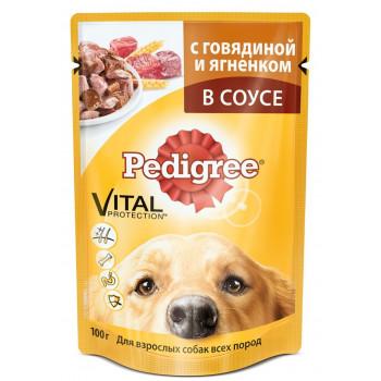 Pedigree корм пауч для взрослых собак, говядина с ягненком в соусе, 100гр (50881)