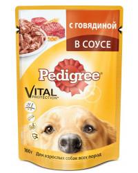 Pedigree корм пауч для взрослых собак, говядина в соусе, 100гр (57361)