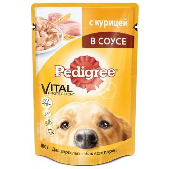 Pedigree корм пауч для взрослых собак, курица в соусе, 100гр (57378)