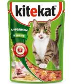 Kitekat консервированный корм для взрослых кошек, с кроликом в желе, 85гр (76086)