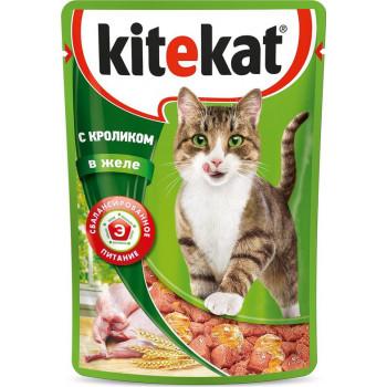 Kitekat корм пауч для взрослых кошек, кролик в желе, 85гр (76086)