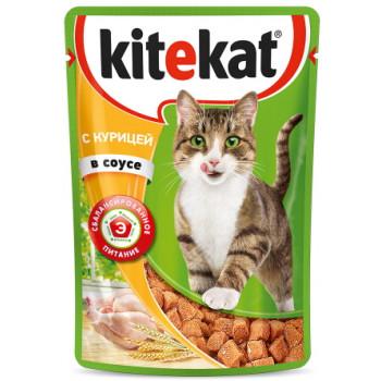 Kitekat корм пауч для взрослых кошек, курица в соусе, 85гр (76000)