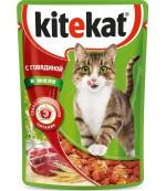 Kitekat консервированный корм для взрослых кошек, с говядиной в желе, 85гр (75980)