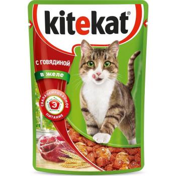 Kitekat корм пауч для взрослых кошек, говядина в желе, 85гр (75980)
