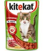 Kitekat консервированный корм для взрослых кошек, с говядиной в соусе, 85гр (75966)