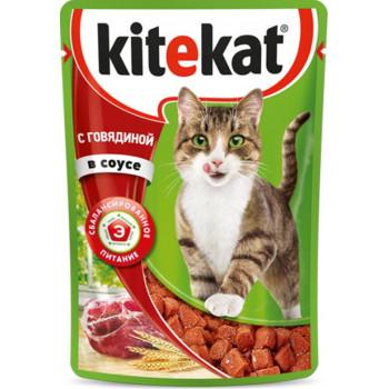 Kitekat корм пауч для взрослых кошек, говядина в соусе, 85гр (75966)