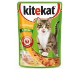 Kitekat консервированный корм для взрослых кошек, с курицей в желе, 85гр (76024)