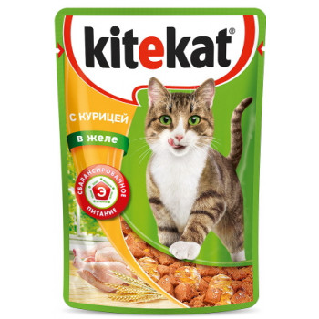 Kitekat корм пауч для взрослых кошек, курица в желе, 85гр (76024)