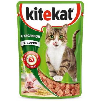 Kitekat корм пауч для взрослых кошек, кролик в соусе, 85гр (76062)