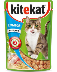 Kitekat корм пауч для взрослых кошек, рыба в соусе, 85гр (76048)