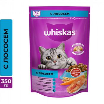 Whiskas сухой корм для взрослых кошек, с лососем и подушечки паштета, 350гр (75133)