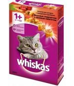 Whiskas сухой полнорационный корм для взрослых кошек, Вкусные подушечки с нежным паштетом, ассотри с говядиной и кроликом, 350гр (74877)