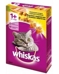 Whiskas сухой полнорационный корм для взрослых кошек, Вкусные подушечки с нежным паштетом, ассорти с курицей и индейкой, 350гр (75119)