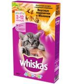 Whiskas сухой полнорационный корм для котят, Вкусные подушки с молоком, ассорти с индейкой и морковью, 2-12 месяцев, 350гр (03135)