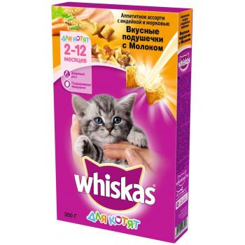 Whiskas сухой корм для котят, индейка с морковью и молочные подушечки, 350гр (03135)