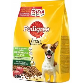 Pedigree Vital protection сухой корм для взрослых собак маленьких пород, с говядиной, 600гр (02541)