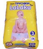 LaLaku Midi #3 подгузники-трусики, 4-9кг, 54шт (00670)