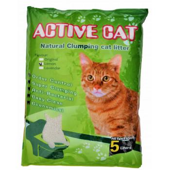 Active Cat наполнитель для кошачьих туалетов, бентонит, комкующийся, с ароматом лимона, 5л (00059)