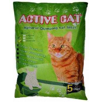 Active Cat наполнитель для кошачьих туалетов, бентонит, комкующийся, с ароматом зеленого яблока, 5л (17173)
