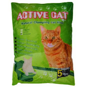 Active Cat наполнитель для кошачьих туалетов, бентонит, комкующийся, детская присыпка, 5л (36775)