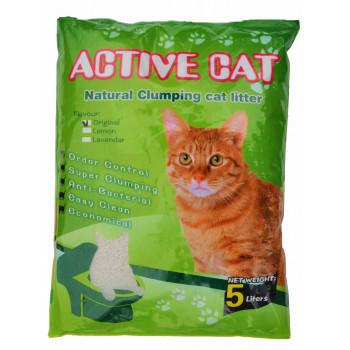 Active Cat антибактериальный наполнитель для кошачьих туалетов, бентонит, комкующийся, без запаха, 5л (17234)