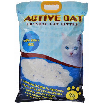 Active Cat силикагелевый наполнитель для кошачьих туалетов, без запаха, 10л (00080)