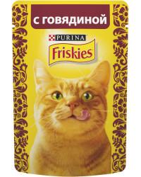 Friskies корм пауч для взрослых кошек, с говядиной, 85гр (68821)