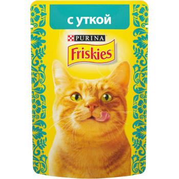 Friskies корм пауч для взрослых кошек, с уткой, 85гр (69439)