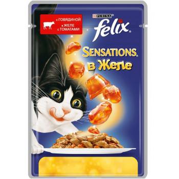 Felix Sensations корм пауч для взрослых кошек, говядина в желе c томатами, 85гр (82600)