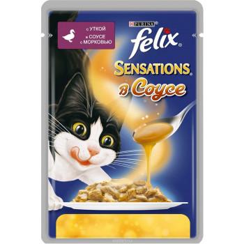 Felix Sensations корм пауч для взрослых кошек, утка в соусе c морковью, 85гр (57658)