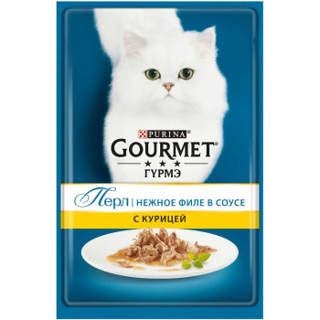 Gourmet Перл корм пауч для взрослых кошек, нежное филе курицы в соусе, 85гр (19600)
