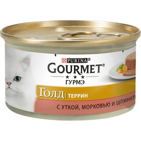 Gourmet Gold корм террин для взрослых кошек, с уткой, морковью и шпинатом, 85гр (28778)