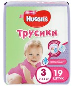 Huggies #3 подгузники-трусики 7-11кг, для девочек, 19шт (45806)