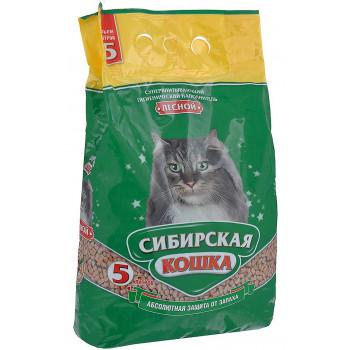 Сибирская кошка наполнитель для кошачьих туалетов,  древесные гранулы, Лесной, 5л (30022)