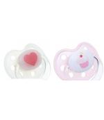 Baby Nova пустышки ортодонтические, латексные, белая и розовая, для девочек, 0-6 месяцев, 2шт (57443) (18996)