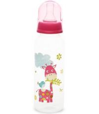 Patchwork Pals пластиковая бутылочка, с круглой силиконовой соской, вариационный поток, 0+ месяцев, розовая, 250мл, 1шт (409-00)