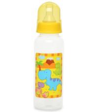 Little Dinos пластиковая бутылочка, с круглой силиконовой соской, вариационный поток, 0+ месяцев, желтая, 250мл, 1шт (99306)