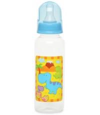 Little Dinos пластиковая бутылочка, с круглой силиконовой соской, вариационный поток, 0+ месяцев, синяя, 250мл, 1шт (99306) (19269)