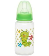 Babycare пластиковая бутылочка, с круглой силиконовой соской, вариационный поток, 0+ месяцев, зеленая, 150мл, 1шт (396-00)