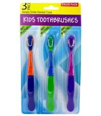 Kids Toothbrushes детские зубные щетки, цветные, мягкой жесткости, 3шт (75970)