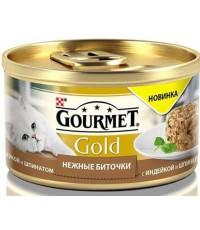Gourmet Gold консервированный корм для взрослых кошек, нежные биточки с индейкой и шпинатом, 85гр (42245)