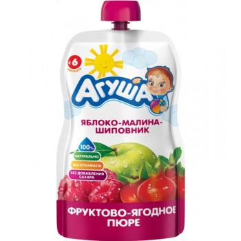 Агуша пюре сашет, яблоко-малина-шиповник, с 6 месяцев, 90гр (32301)