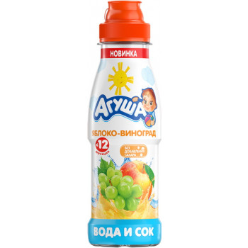 Агуша вода и сок, Яблоко-виноград, с 12 месяцев, 300мл (33285)