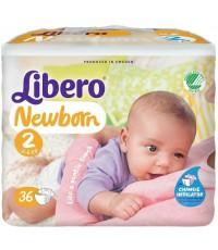 Libero newborn #2 подгузники, 3-6кг, 36шт (94635)