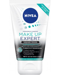 Nivea Make up Expert 3в1 пенка для умывания, черная, с абсорбирующим углем, для жирной кожи, 100мл (87582)