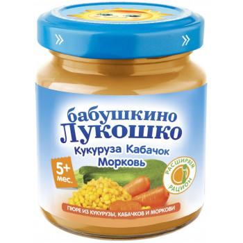 Бабушкино Лукошко пюре, кукуруза, кабачок и морковь, с 5 месяцев, 100гр (09604)