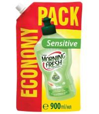 Morning Fresh Sensitive для мытья посуды, Алое вера, запаска, 900мл (23430)