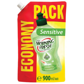 Morning Fresh Sensitive средство для мытья посуды, алое вера, запаска, 900мл (23430)